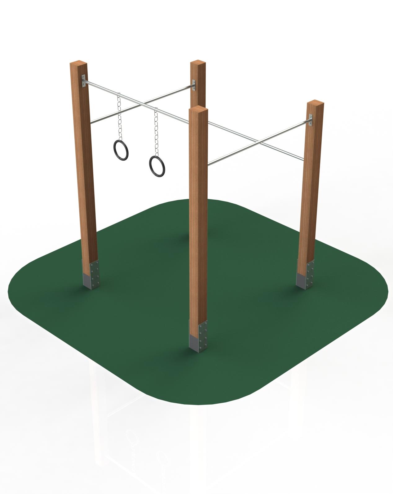 Rods + gymnastic wheels